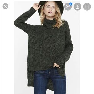 Express Green extreme high-lo hem neck sweater